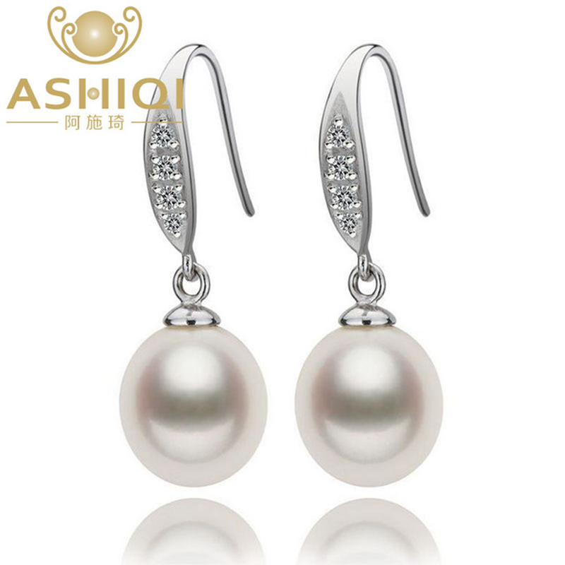 ASHIQI Natural Freshwater Pearl Drop Earrings 925 Sterling Silver smykker For kvinner