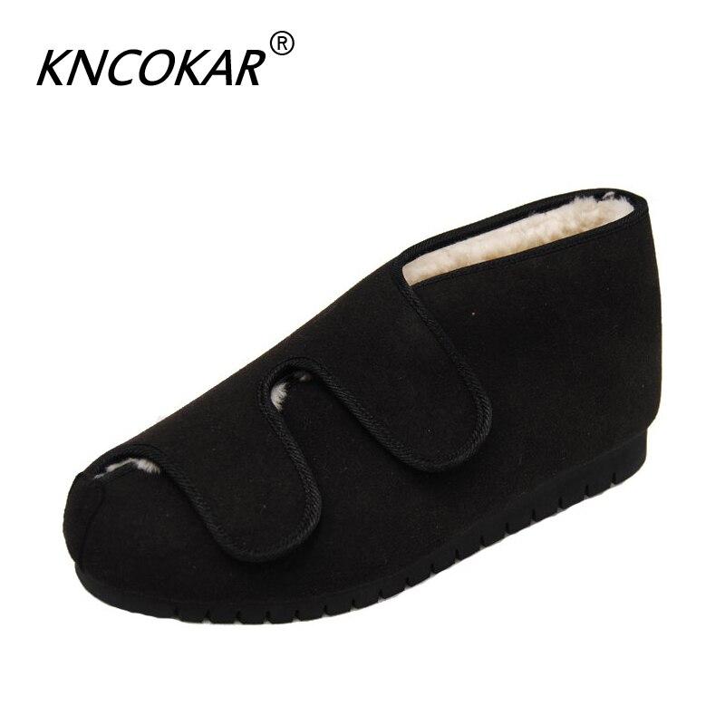 662bf8516ef2 Sapatos diabéticos Inverno Lã Quente Sapatos Pé Inchaço Deformidade Sapatos  Aumentou Sapatos de Reabilitação Pós-