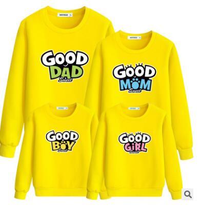 Отец и сын одежда на осень-зиму bodywear корейской версии с длинными рукавами круглый воротник свободно облегающие семьи qz-119