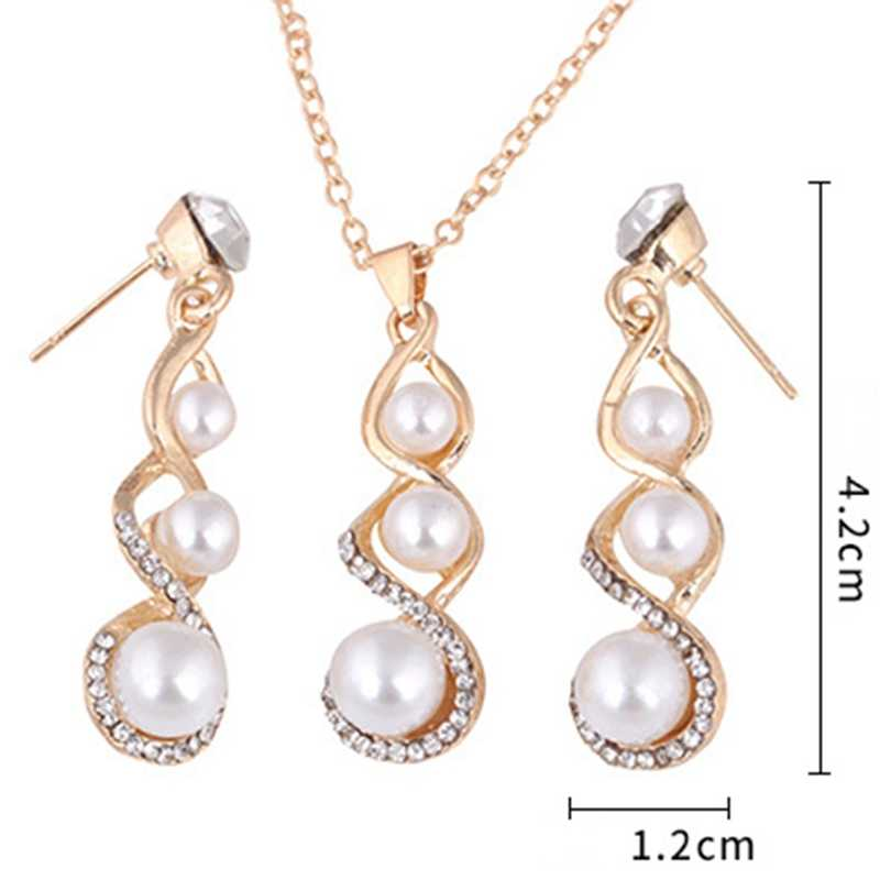 Fashion Wedding Jewelry Set For Women Imitation Pearl Crystal Earring Necklace Pendant Rhinestone New Suit Ear Stud Quick Sale