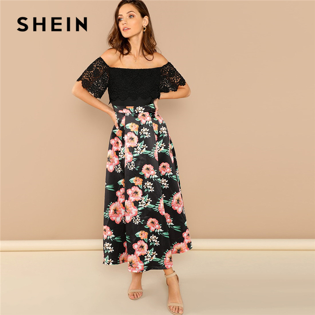 1bf0a03ec62c SHEIN Black Elegant Guipure Lace Foldover Front Floral Off the Shoulder  Dress Highstreet Going Out Women Summer Dress
