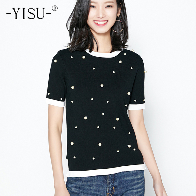 YISU Early autumn Sweater Pearl Beaded Knit Jumper Autumn Winter Womens  Pullover Sweaters Black white stitching Tight Sweater 7adf022fe