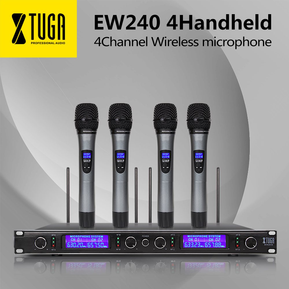 XTUGA Top Quality EW240 4 Channel Wireless Microphones System UHF Karaoke System Cordless four handheld Mic bodypack Home partyXTUGA Top Quality EW240 4 Channel Wireless Microphones System UHF Karaoke System Cordless four handheld Mic bodypack Home party