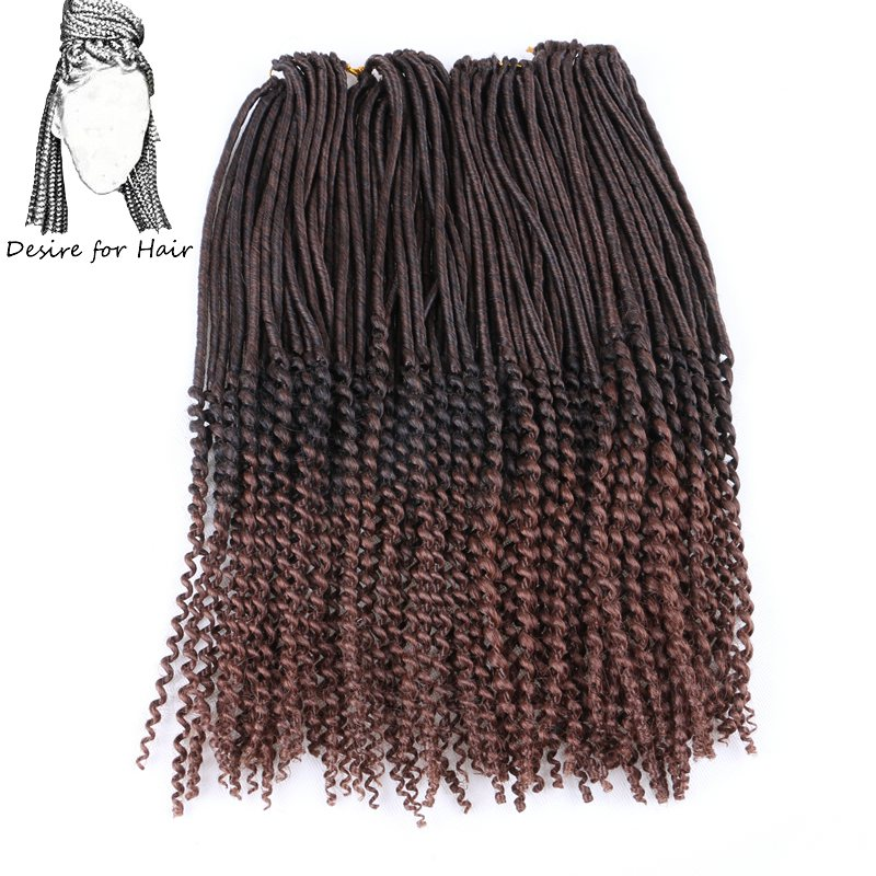 Desire for hair 10packs 20inch 100g 24strands omber dark brown color black 33 crochet synthetic faux locs curly braids hair