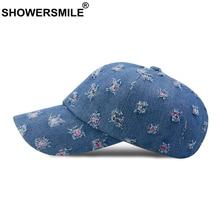 SHOWERSMILE Mens Denim Baseball Caps Cotton Blue Ripped Dad Women Snapback Autumn High Quality Unisex Cap Washed