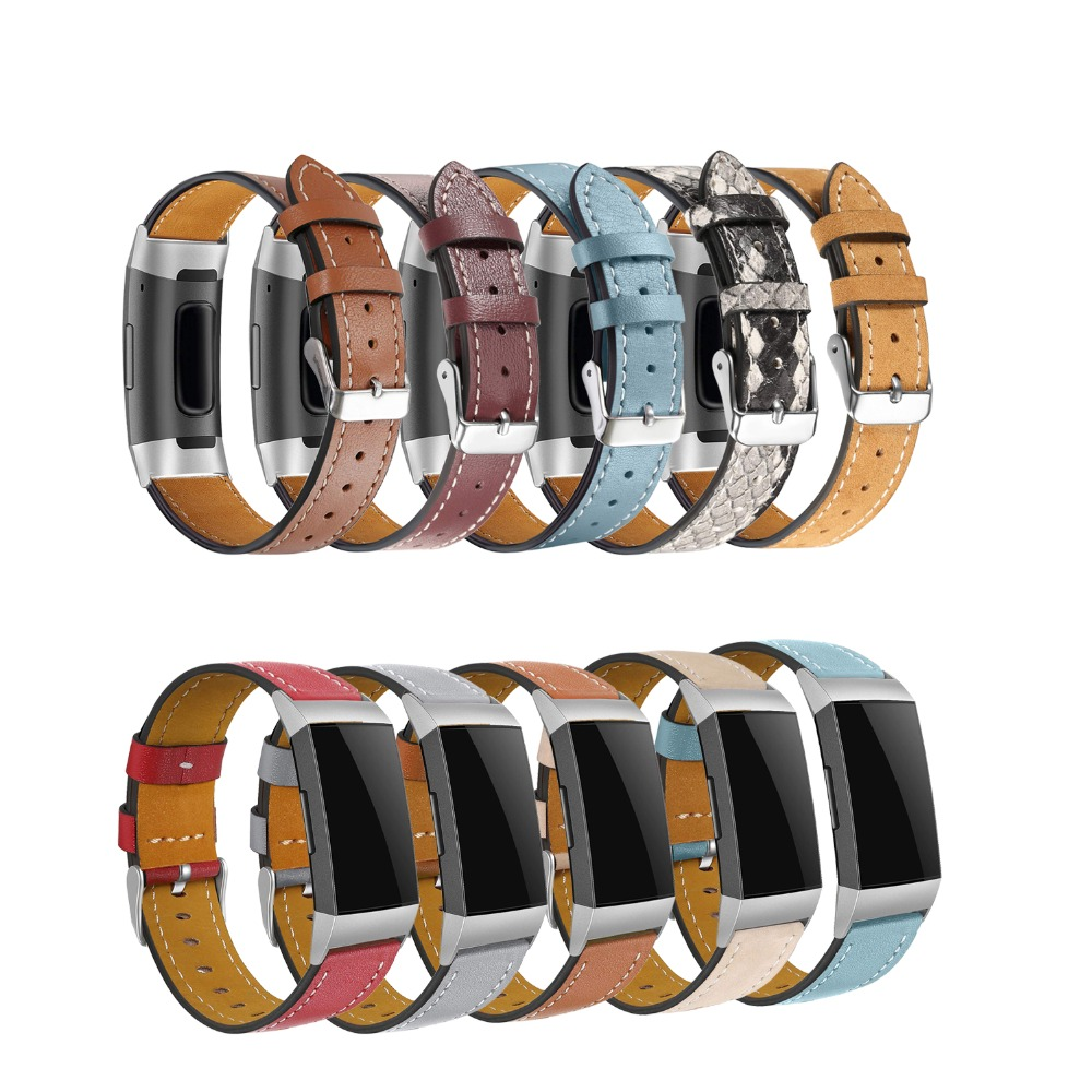 Replacement Fitbit Charge 3 Bands Leather Straps Band Interchangeable Smart Fitness Watch Band With Stainless Frame For Charge3