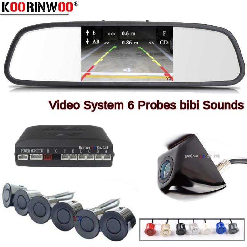 Koorinwoo Auto Parktonic voiture Parking capteur Set 6 BIBI voiture moniteur rétroviseur voiture Parking Camra véhicule détecteur zone aveugle