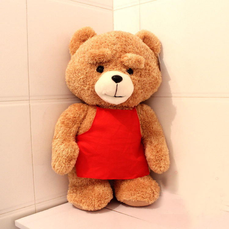 big size cute plush red apron teddy bear doll new lovely bear toy gift about 80cm new creative plush bear toy cute lying bow teddy bear doll gift about 50cm