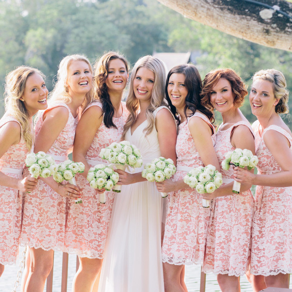 Popular Bridesmaid Dresses in Peach with Lace-Buy Cheap Bridesmaid ...