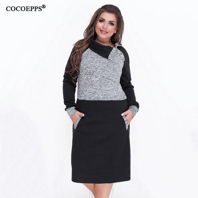 a095472723d 2018 Autumn 5XL 6XL Big Size Women Dress Winter Patchwork Female Plus Size  Warm Dress Bodycon