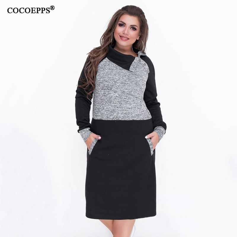 2019 Autumn 5XL 6XL Big Size Women Dress Winter Patchwork Female Plus Size Warm Dress Bodycon Large Sizes Elegant Party Dress