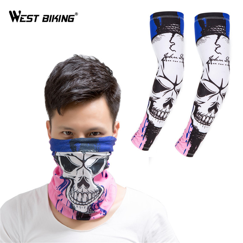 Cyclespeed Store WEST BIKING Cycling Bike Arm Covers Warmers Sleeves Bicycle Arm Warmer Cuffs Outdoor Sport Face Mask Hood Arm Sleeves Set