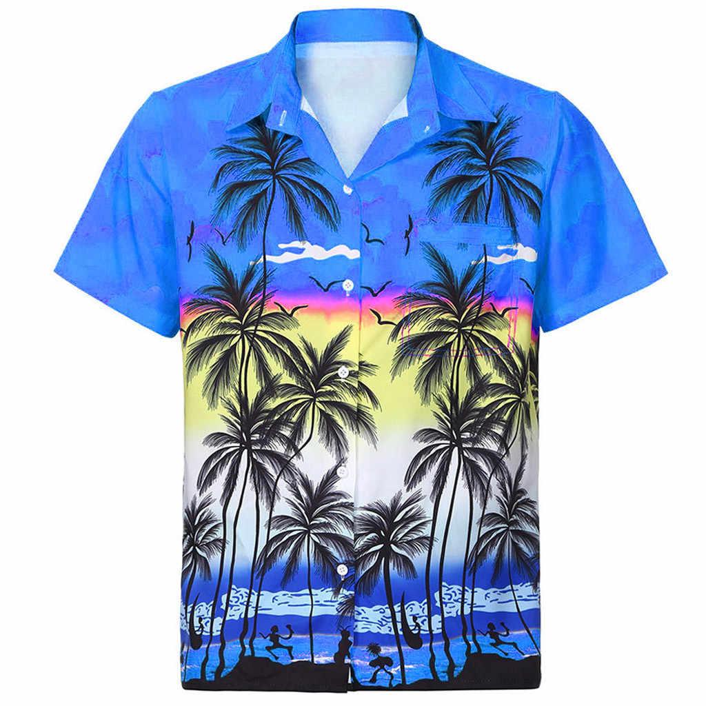 はアロハシャツメンズ男性カジュアルレモンプリントビーチシャツ半袖ブランド服アジアシャツ 2019 服