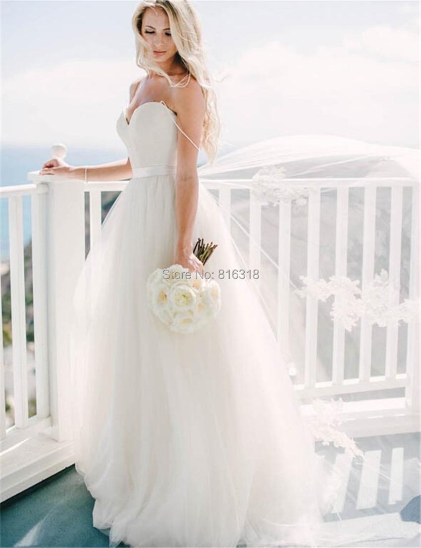 Strapless Tulle Cinderella Wedding Gown Beach Simple Cheap Wedding ...