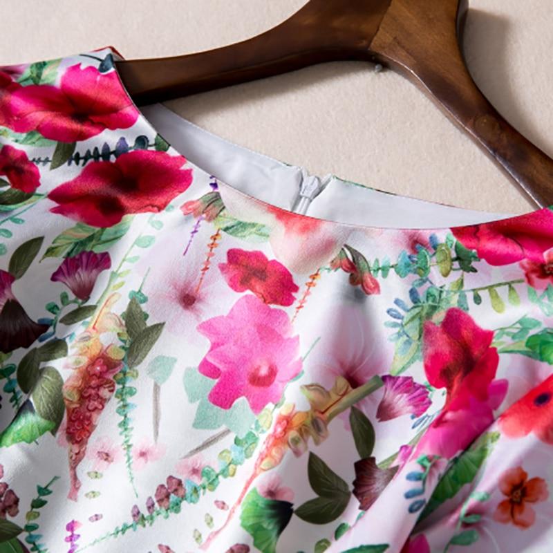Manches Moitié Haute neck Mignon Femmes Nouvelle Mince Imprimer O 2017 Arrivée Qualité Robe Jolie Élégant Mode Douce qSAPnwf