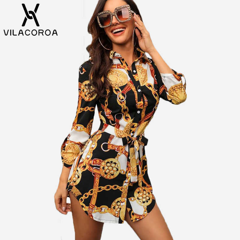 Sexy Middle Sleeve Chain Print Women Blouses And Tops Lapel Lace-Up Button Women Blouses Casual Top Blusas Chemise Femme vestido