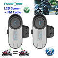 2PCS TCOM-SC BT Bluetooth Motorcycle Helmet Intercom Interphone Headset with LCD screen + FM Radio