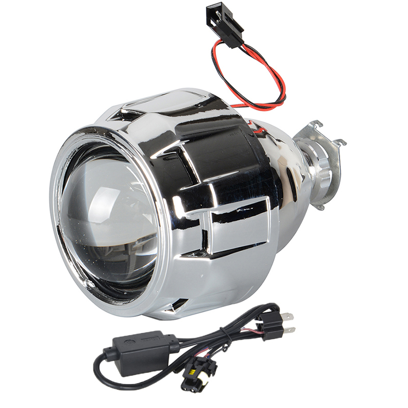 2.5Inch H1 LED Mini Projector Lens Light for Auto Motorcycle Bike Headlight H1 H4 H7 Socket With H4 Wire Harness Cable led projector lens headlight with ballast 35w 5500k 3 inch projector lens led car