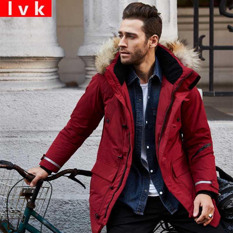 2017 Winter medium-long   down     coat   men   down   jacket thickening slim outerwear large fur collar removable cap