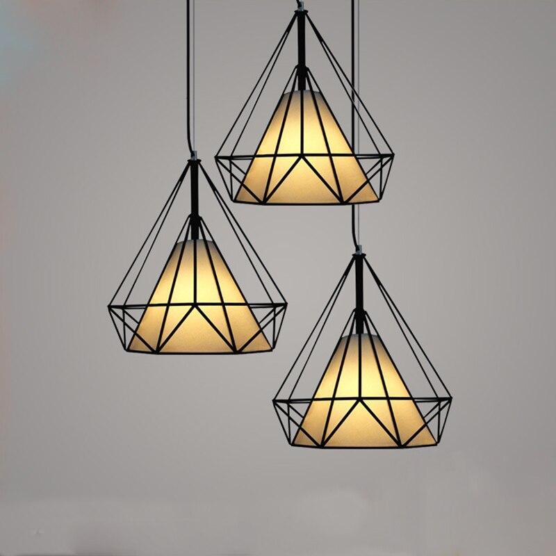 ФОТО Hot modern black birdcage pendant lights iron minimalist retro light Scandinavian loft pyramid lamp metal cage with led bulb