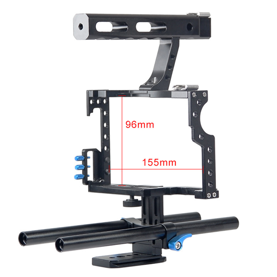 15mm Rod Rig DSLR Camera Video Cage Kit Stabilizer+Top Handle Grip for Sony A7 II A7R A7S A6300 A6500 Panasonic GH4 GH3 yelangu dslr rig video stabilizer mount rig dslr cage handheld stabilizer for canon nikon sony dslr camera video camcorder