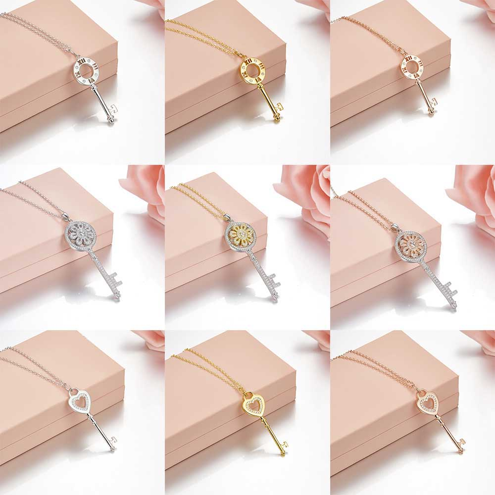 Tiff 100% 925 Sterling Silver Hollow Love Pendant Fashion Trends Necklaces Lock Pendant Girls Jewelry Gifts