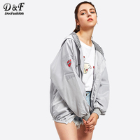 Dotfashion Letter Print Hooded Zip Up Jacket 2017 New Woman Autumn Long Sleeve Pocket Top Ladies Grey Short Jacket