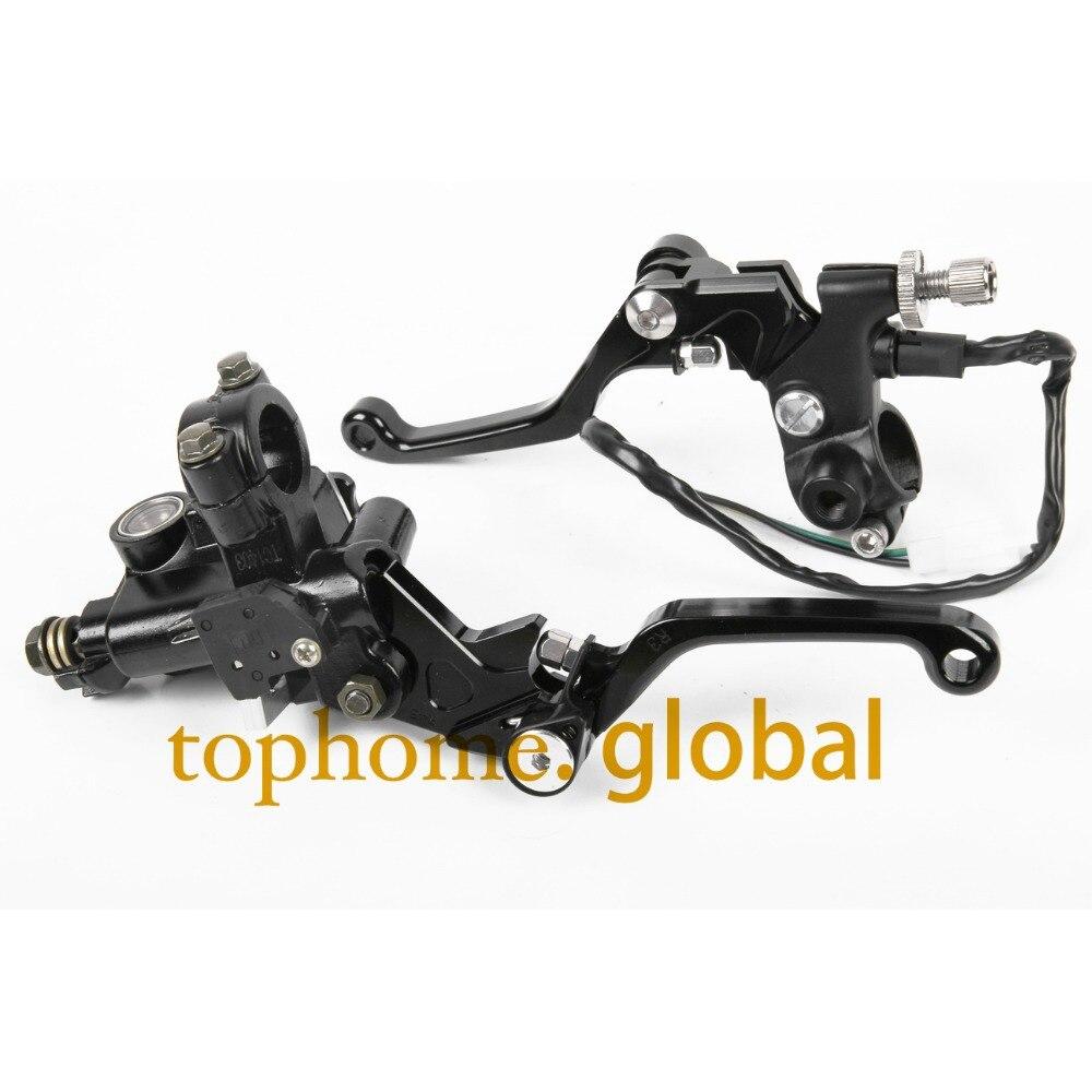 New 7/8 CNC Brake Master Cylinder Pressure Switch Reservoir Levers Dirt Pit Bike Set For SUZUKI RM125/250 2004-2005 2006-2013