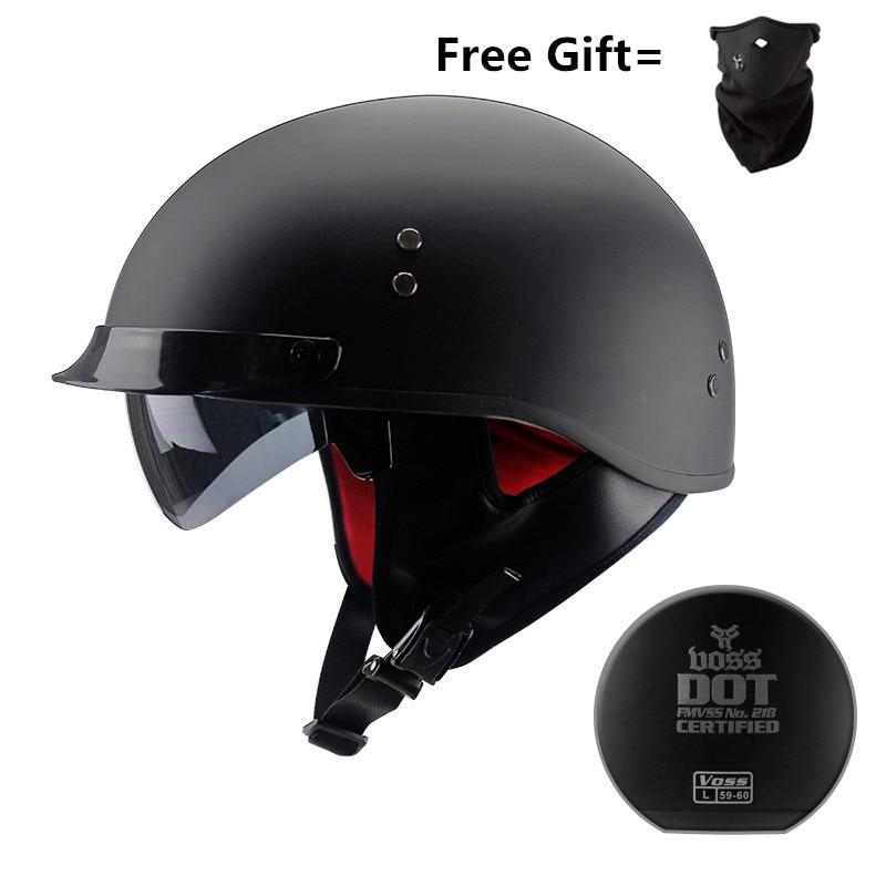 DOT Approved Motorcycle Helmets Skull Cap Cycling Bike Half Helmet German Adult