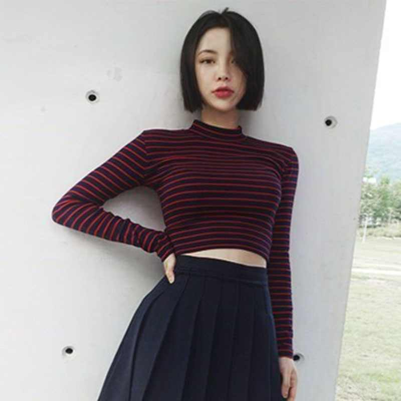 Women T-Shirts Fashion Stripe Short T Shirt Cotton Bustier Crop Tops Turtleneck Long Sleeved Female T-shirt Sexy Slim Tee Tops