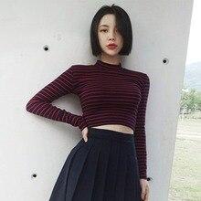 Women T-Shirts Fashion Stripe Short T Shirt Cotton Bustier Crop Tops Turtleneck Long Sleeved Female T-shirt Sexy Slim Tee
