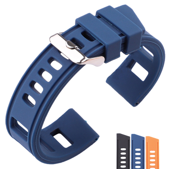 Rubber Watch band Strap 20mm 22mm Orange Blue Black Women Men Waterproof Soft Silicone Watchbands Bracelet With Polished Buckle men silicone rubber wrist watch strap band waterproof with deployment clasp red orange blue coffee