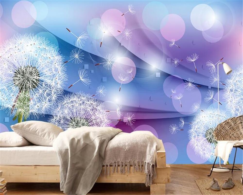 beibehang Warm romantic dandelion 3D wallpaper decoration living room TV background wall painting wall papers home decor in Wallpapers from Home Improvement