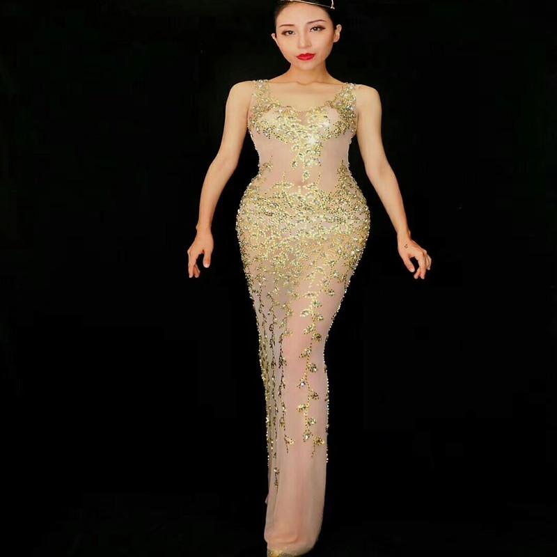 2019 femmes nouvelle mode brillant RhinestonesNet fil Transparent Cool Sexy longue robe femme chanteuse célébrer tenue de soirée robe