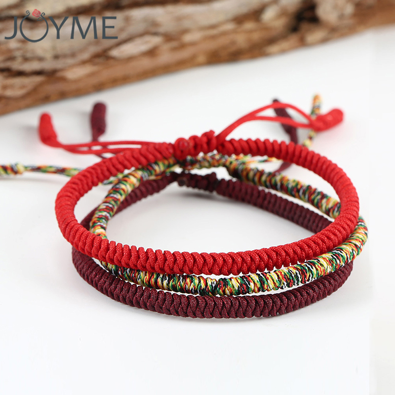 Chinese Lucky Red String Bracelet Men Women Tibetan Buddha Prayer Handmade Yoga Prayer Rope thread Bracelet Adjustable Size