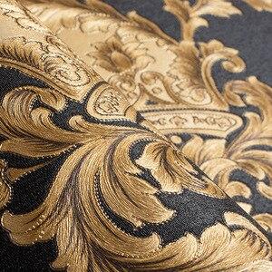 Image 4 - ハイグレード黒ゴールド高級エンボス質感メタリック3Dダマスクの壁紙ロール洗えるビニールpvcウォールペーパー