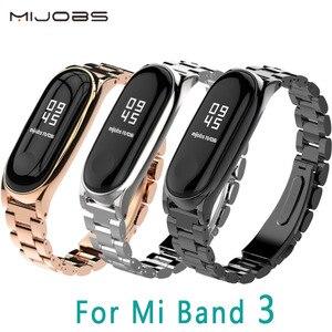 Image 1 - Mi jobs Metall Strap Für Xiao mi mi Band 3 Strap Schraubenlose Edelstahl Armband Armband Ersetzen Zubehör Für mi band 3