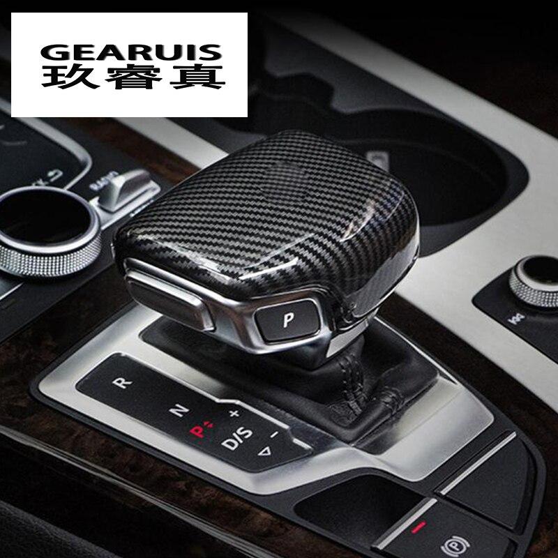 Auto Styling automatische geschwindigkeit schaltknauf kopf carbon faser abdeckung Aufkleber Für Audi A3 8 v S3 A4 B8 a5 A6 C7 S6 A7 S7 A8 Q5 Q7
