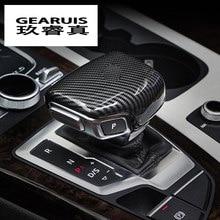 Car Styling automatico pomello del cambio di velocità testa in fibra di carbonio della copertura Autoadesivo Per Audi A3 8V S3 A4 B8 a5 A6 C7 S6 A7 S7 A8 Q5 Q7