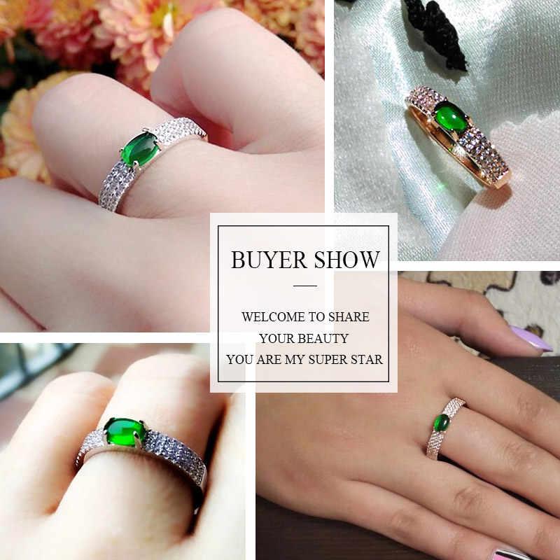 Bagues de mariage en pierre verte USTAR pour femmes avec zircon cubique AAA cristaux de couleur or Rose bagues de fiançailles bijoux anel femme