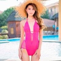 ผู้หญิงRose &สีขาวOne P Ieceชุดว่ายน้ำที่ทำด้วยมือแข็งโครเชต์ถักชุดว่ายน้ำลึกV