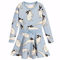 2017 New Baby Girls Dresses Rabbit Cartoon Print Long Sleeve Spring Autumn Toddler Dress Girls O-neck Ruffles Princess Dress