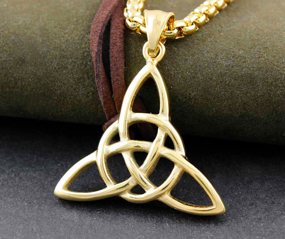 Gold stainless steel celtic knot triquetra amulet mens pendant gold stainless steel celtic knot triquetra amulet mens pendant necklace jewelry in pendants from jewelry accessories on aliexpress alibaba group aloadofball Image collections