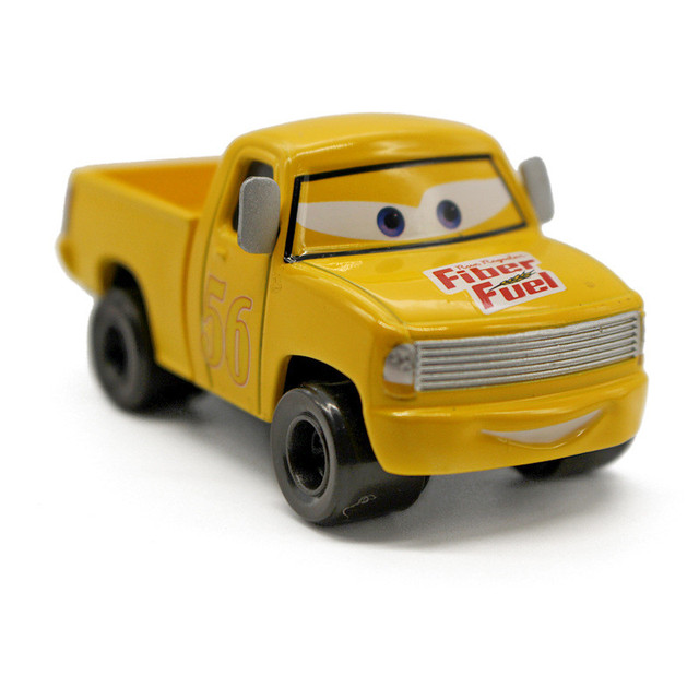 Cast Metal Toy Car Yellow No 56 Fiber Fuel Pickup Truck Pixar Cars 2 Cartoon Movie 1 55 Alloy Model Gift