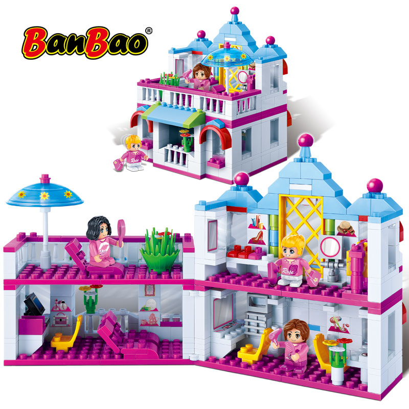 BanBao Educational Building Blocks Beauty Hair Salon Bricks Models Toy compound variability house For Girls Children Kids Friend