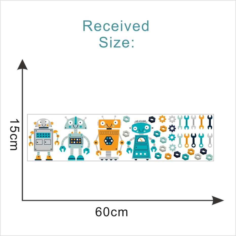 Cartoon Four Robots Wall Sticker Cute Kids Bedroom Decorative Decals Modern Decoration For The House Art Murals Vinyl Wallpaper  (1)