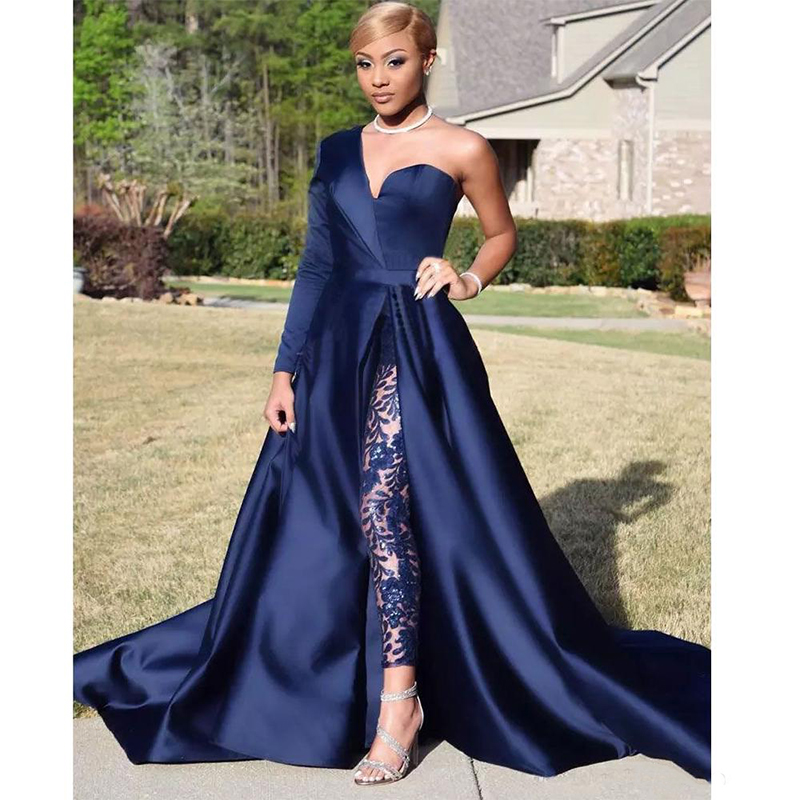 2019 Modest Blue Jumpsuits Evening Dresses One Shoulder Front Side Slit Celebrity Gowns Party Dress without