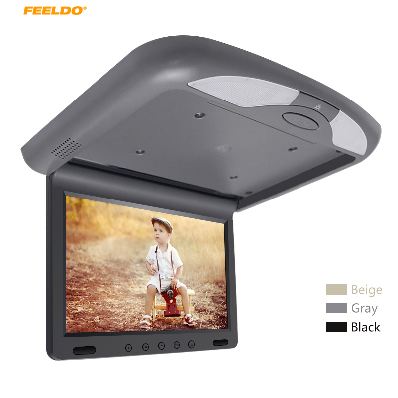 DC12V 10.1 Inch Car Roof Mounted TFT LCD Monitor 2-Way Video Input Flip Down Multimedia Video Ceiling Roof mount Display #AM1081 gizcam 10 2 car ceiling flip down overhead roof mount hd screen video monitor car flip down monitor new