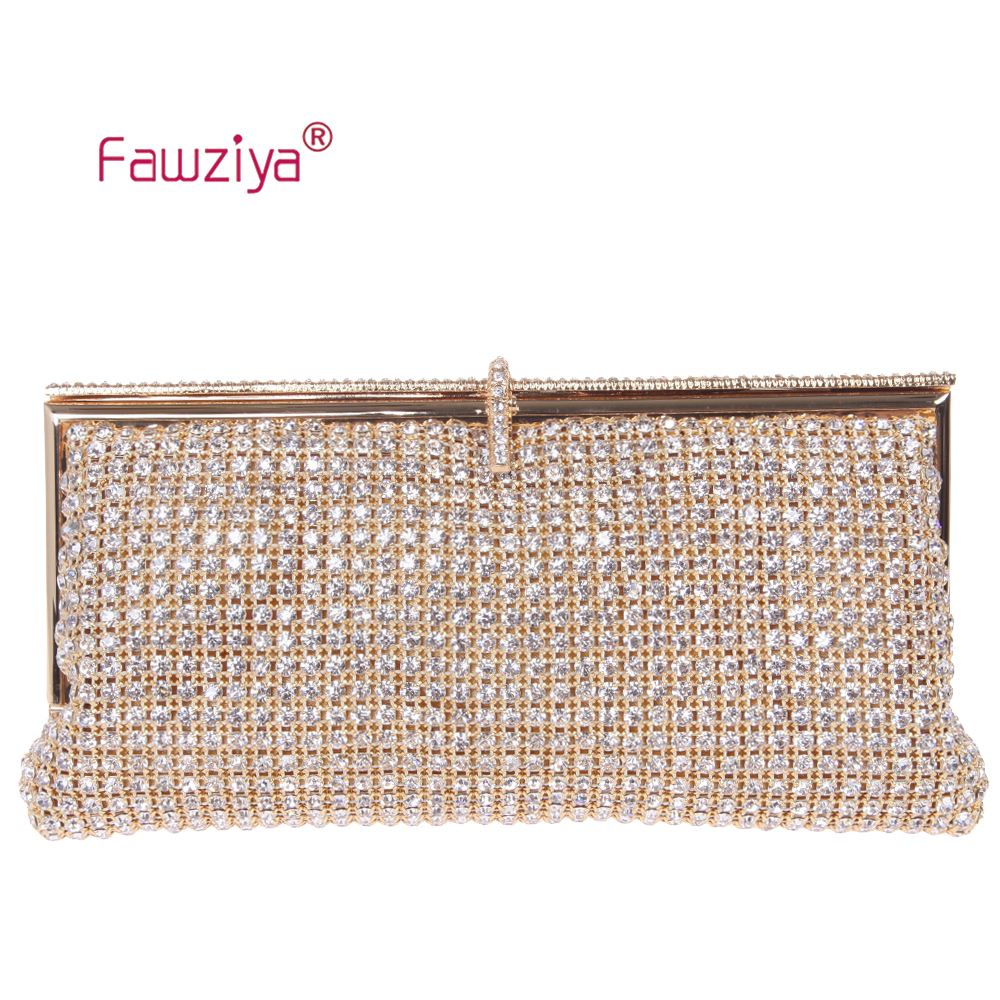 Fawziya Bag Wallet Metal Frame Dazzling Diamond Baguette