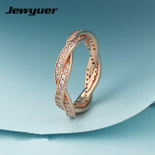 Twist of Fate ring 925 sterling silver jewelry with rose gold ring wedding Rings for women men anillos fine jewelry RIP422-R